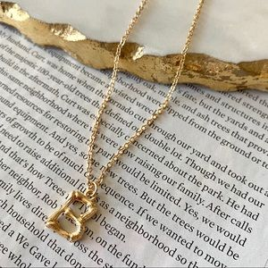 Gold Initial Letter Necklace Bamboo Link B
